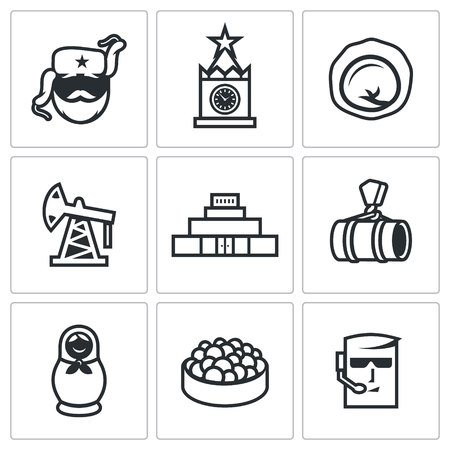 lenin: Vector Isolated Flat Icons collection on a white background for design