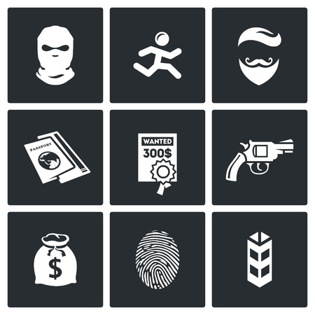 stalking: Vector Isolated Flat Icons collection on a black background for design Illustration