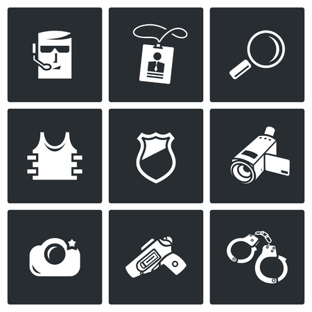 holster: Vector Isolated Flat Icons collection on a black background for design Illustration