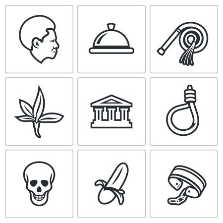 slave labor: Vector Isolated Flat Icons collection on a white background for design