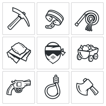 iron ore: Vector Isolated Flat Icons collection on a white background for design