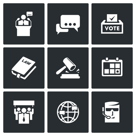 campaign promises: Vector Isolated Flat Icons collection on a black background for design Illustration