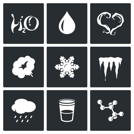 hard rain: Vector Isolated Flat Icons collection on a black background for design Illustration