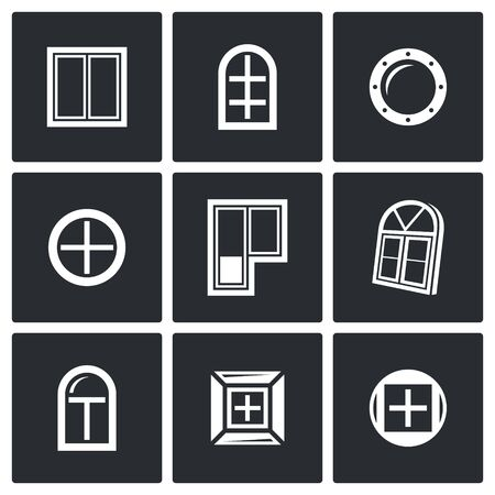 dormer: Vector Isolated Flat Icons collection on a black background for design Illustration