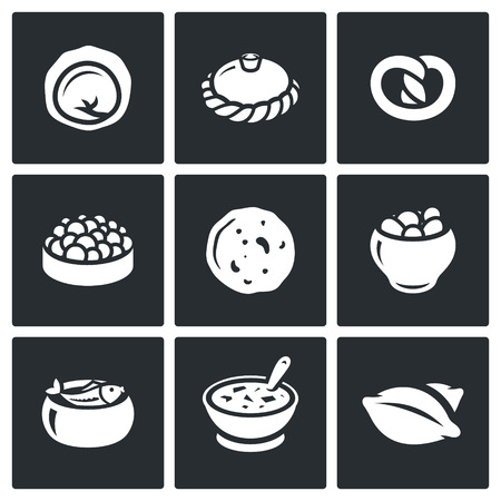 russian cuisine: Vector Isolated Flat Icons collection on a black background for design Illustration