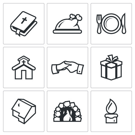 holy thursday: Vector Isolated Flat Icons collection on a white background for design