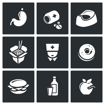 bad condition: Vector Isolated Flat Icons collection on a black background for design Illustration