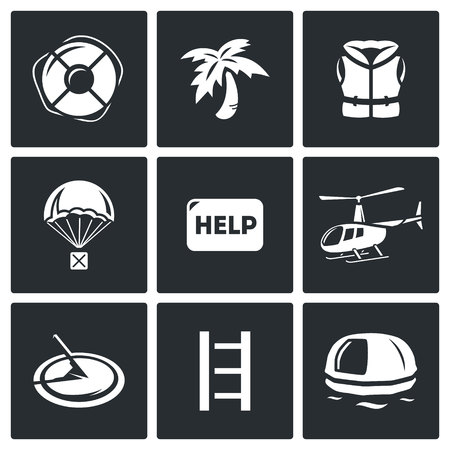 robinson: Vector Isolated Flat Icons collection on a black background for design Illustration