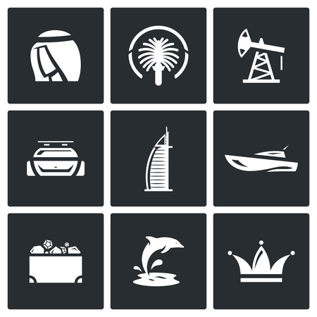 possession: Vector Isolated Flat Icons collection on a black background for design Illustration