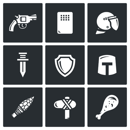 squire: Vector Isolated Flat Icons collection on a black background for design Illustration