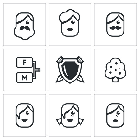 female likeness: Vector Isolated Flat Icons collection on a white background for design