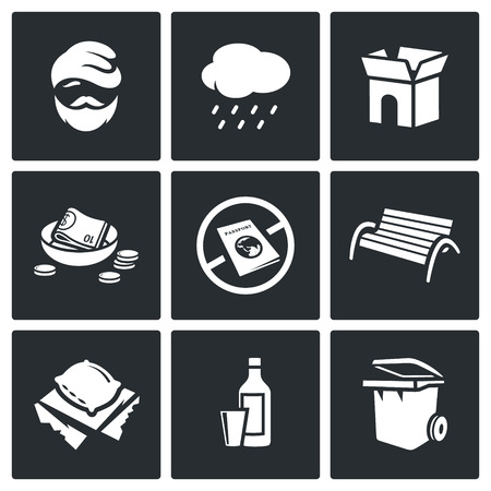 scourge: Vector Isolated Flat Icons collection on a black background for design Illustration