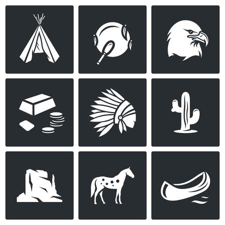 Vector Colección aislado planas iconos sobre un fondo negro para el diseño