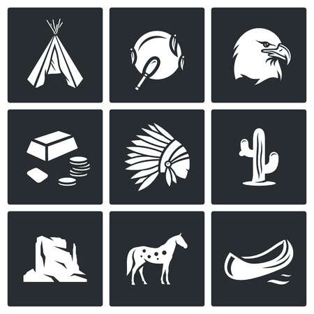 redskin: Vector Isolated Flat Icons collection on a black background for design Illustration