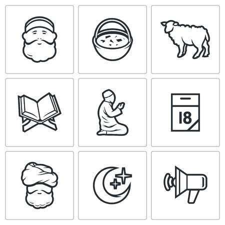 sermon: Vector Isolated Flat Icons collection on a white background for design