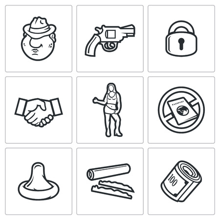 prostitution: Vector Isolated Flat Icons collection on a white background for design