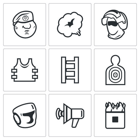 elite sport: Vector Isolated Flat Icons collection on a white background for design