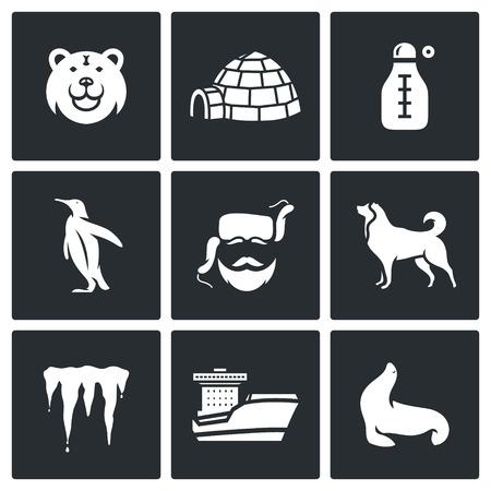 esquimales: Vector Colección aislado planas iconos sobre un fondo negro para el diseño