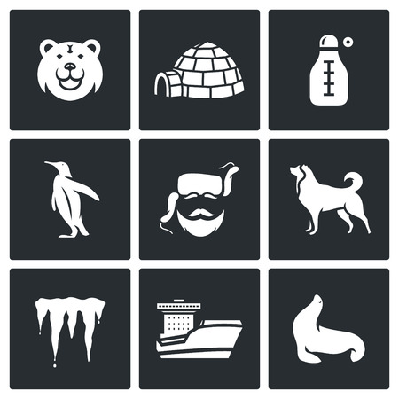 polar station: Vector Isolated Flat Icons collection on a black background for design Illustration