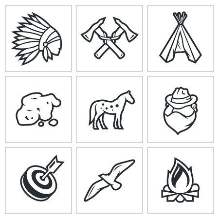 Vector Colección aislado planas iconos sobre un fondo blanco para el diseño Ilustración de vector