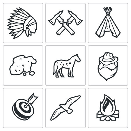 redskin: Vector Isolated Flat Icons collection on a white background for design