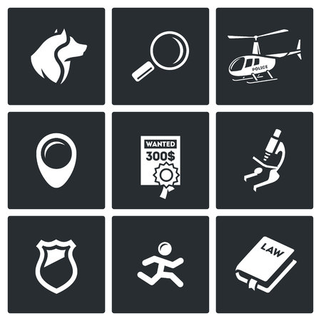 burglar proof: Vector Isolated Flat Icons collection on a black background for design Illustration