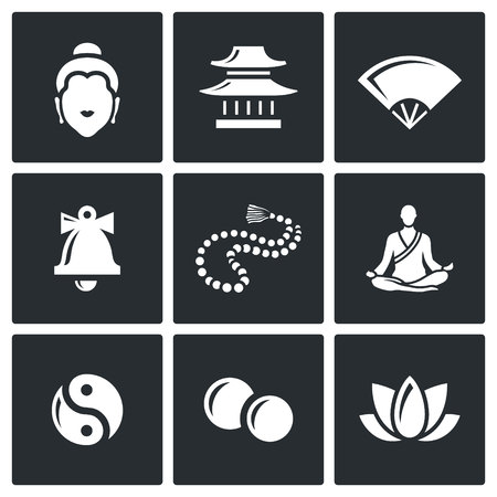 doctrine: Vector Isolated Flat Icons collection on a black background for design Illustration