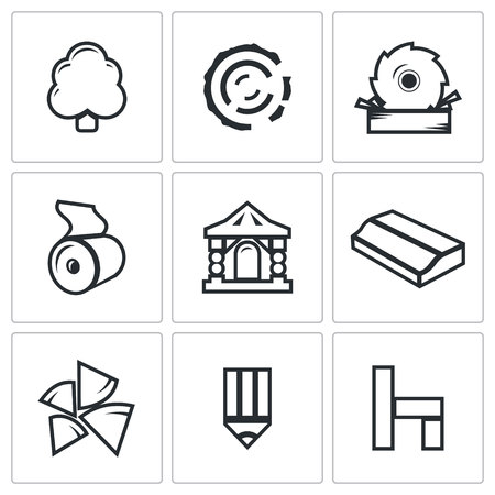 sawn: Vector Isolated Flat Icons collection on a white background for design
