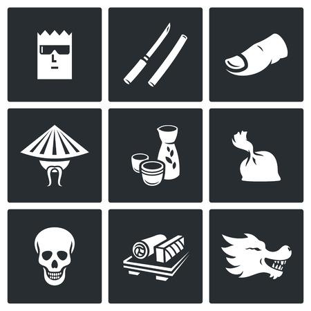 デザインの黒の背景にベクトル分離フラット アイコン コレクション