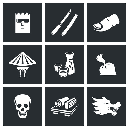 organized crime: Vector Isolated Flat Icons collection on a black background for design Illustration