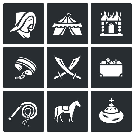 raid: Vector Isolated Flat Icons collection on a black background for design Illustration
