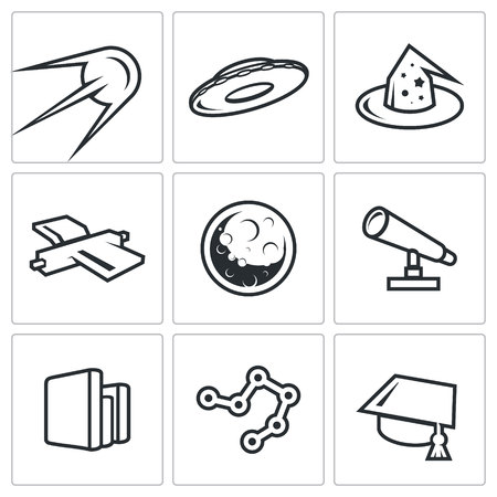 otherworldly: Vector Isolated Flat Icons collection on a white background for design