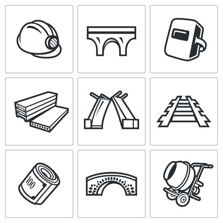 architectural team: Vector Isolated Flat Icons collection on a white background for design