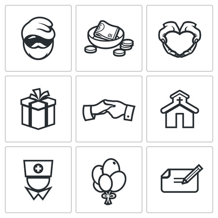 hospice: Vector Isolated Flat Icons collection on a white background for design