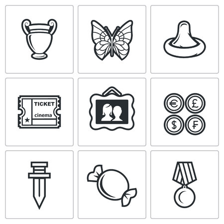 numismatics: Vector Isolated Flat Icons collection on a white background for design