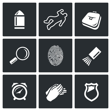 bloodhound: Vector Isolated Flat Icons collection on a black background for design Illustration