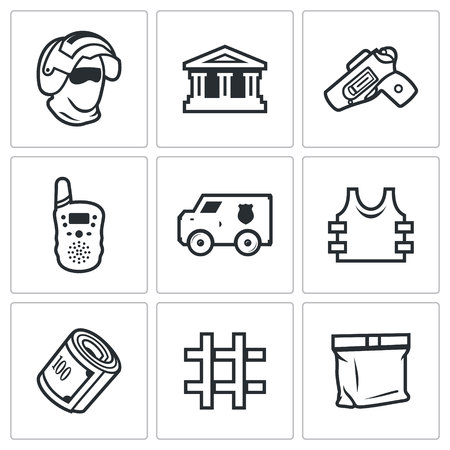 holster: Vector Isolated Flat Icons collection on a white background for design