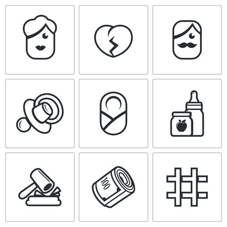 culprit: Vector Isolated Flat Icons collection on a white background for design