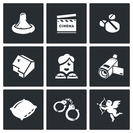 Vector Isolierte Flach Ikonen-Sammlung auf einem schwarzen Hintergrund für Design- Standard-Bild - 44249787