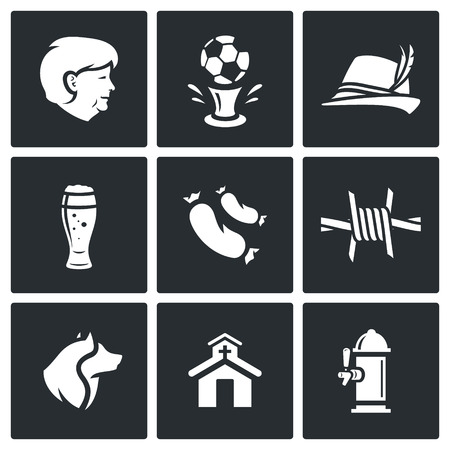 fascism: Vector Isolated Flat Icons collection on a black background for design Illustration