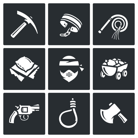 iron ore: Vector Isolated Flat Icons collection on a black background for design Illustration
