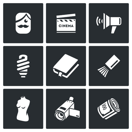 staging: Vector Isolated Flat Icons collection on a black background for design Illustration