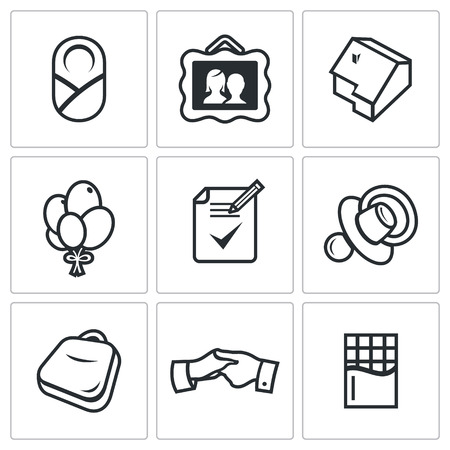 foster: Vector Isolated Flat Icons collection on a white background for design