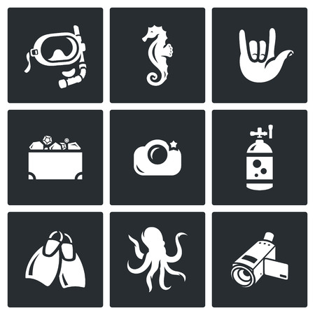 treasure chest: Vector Isolated Flat Icons collection on a black background for design Illustration