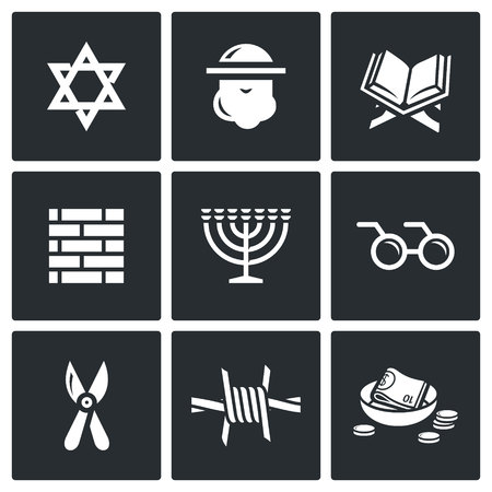 zionism: Vector Isolated Flat Icons collection on a black background for design Illustration