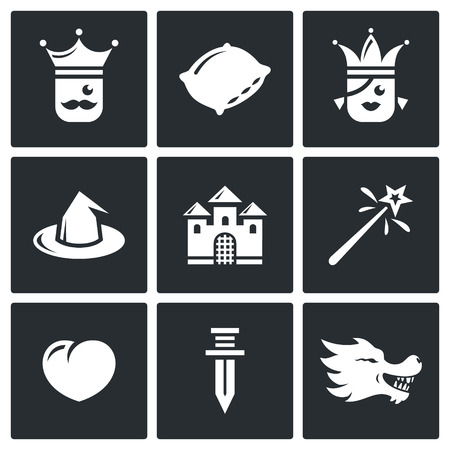 popular tales: Vector Isolated Flat Icons collection on a black background for design Illustration