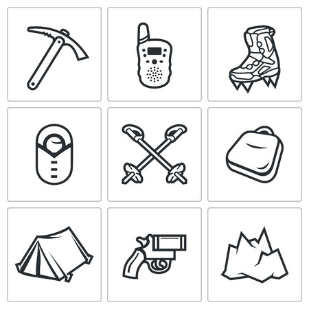 top gun: Vector Isolated Flat Icons collection on a white background for design