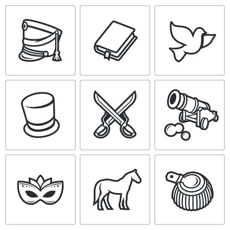 leo tolstoy vector isolated flat icons collection on a white background for design