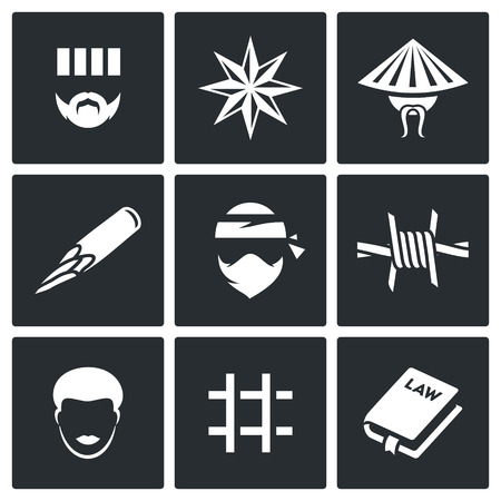 hardened: Vector Isolated Flat Icons collection on a black background for design Illustration
