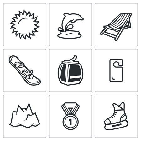 sun bed: Vector Isolated Flat Icons collection on a white background for design